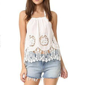 NWOT MinkPink White Lace Crochet Crop Halter Top